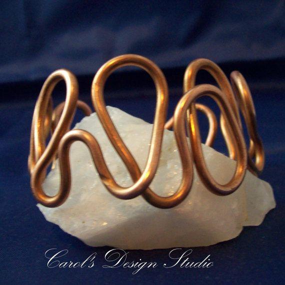 Beautiful Bulky Adjustable Copper wire bracelet.