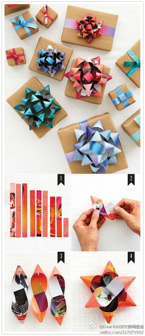 DIY flower gift bows; this totally works! Just made one for my mom's birthday present :)