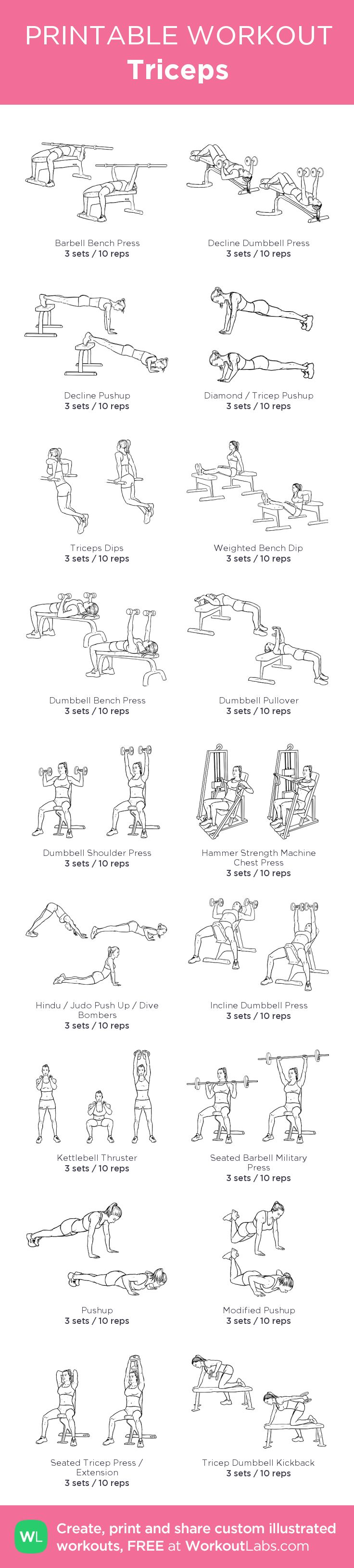 Triceps : my custom printable workout by @WorkoutLabs #workoutlabs #customworkout