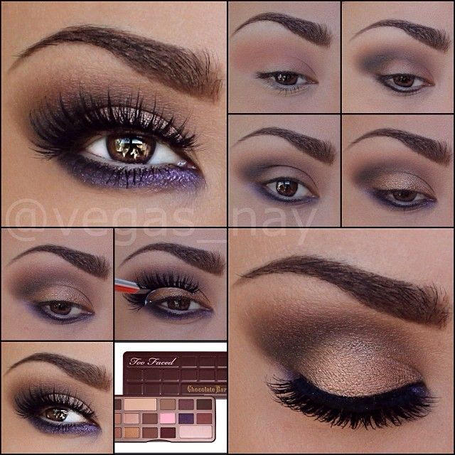 Love this Beauty HOW TO from vegas_nay featuring Too Faced The Chocolate Bar Eye Palette! #Sephora #palettes