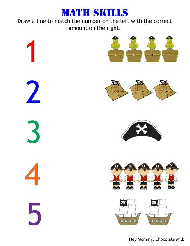 Number Matching/Counting Pirate Themed Worksheet