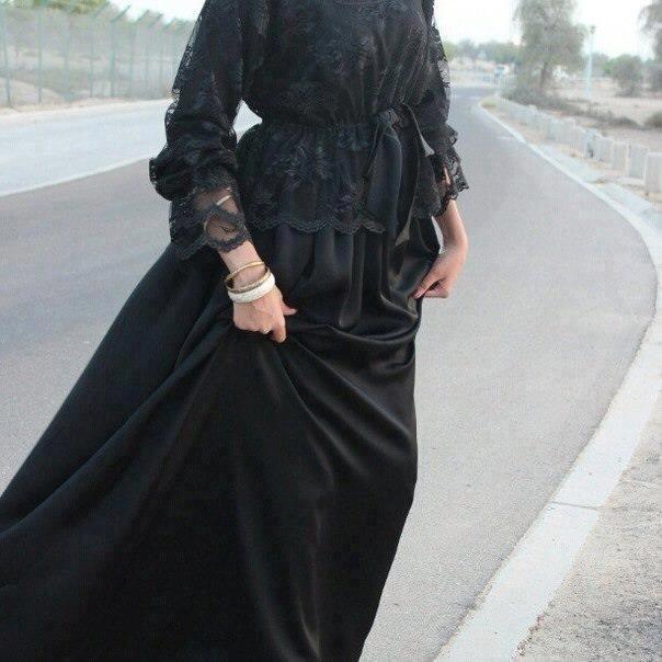 Modest black laced blouse & draped skirt