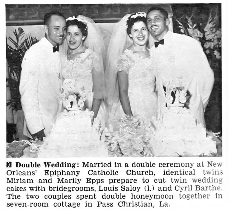 New Orleans Twins Miriam and Marily Epps Marry in Double Ceremony - Jet Magazine, August 2, 1956