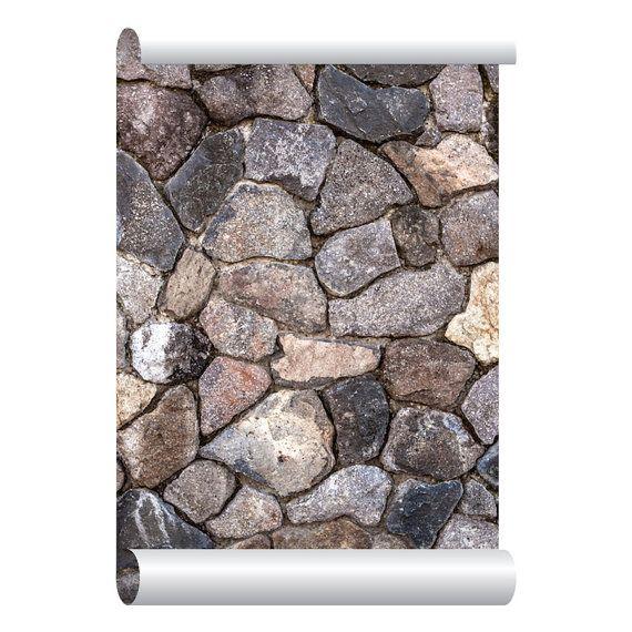 Self-adhesive Removable Wallpaper, Stone Wallpaper, Peel and Stick Repositional Fabric Wallpaper, Custom Design Wall Mural