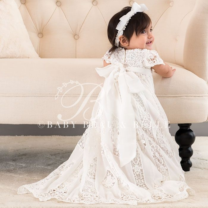 Silk & Lace Christening Gown for Girls Baptism, Christening Bonnets