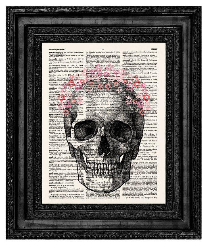 Human skull Print,Skull Art,Skull Print,Skull Flower,Skeleton Art Print,Vintage Skull Print,Skull Dictionary ,Wall Decor,Vintage Poster,470 by demeraki on Etsy