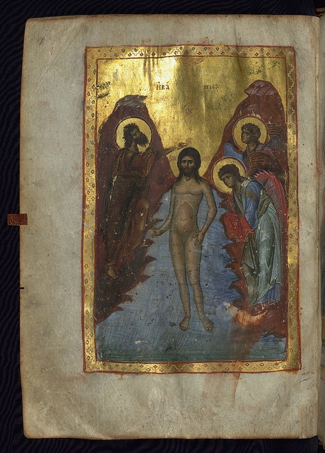 Trebizond Gospels, The Baptism of Christ, Walters Manuscript W.531, fol. 59v by Walters Art Museum Illuminated Manuscripts, via Flickr