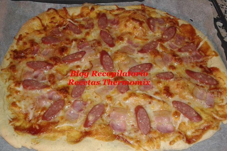 Pizza de beicon, salchichas de queso al estilo de Telepizza, Pizza Hut y Domino´s Pizza en thermomix