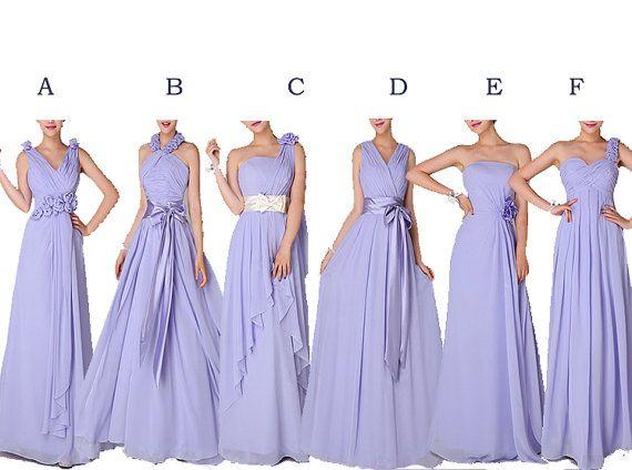 Long Bridesmaid Dresses Lavender Bridesmaid Dress Full Length Maid of Honor Dress Chiffon Mismatch Purple Girls Group Dresses