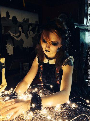 Skeleton Valentine | Flickr - Photo Sharing! Sparkling lights in the shadows. Goth model Syringe poses.