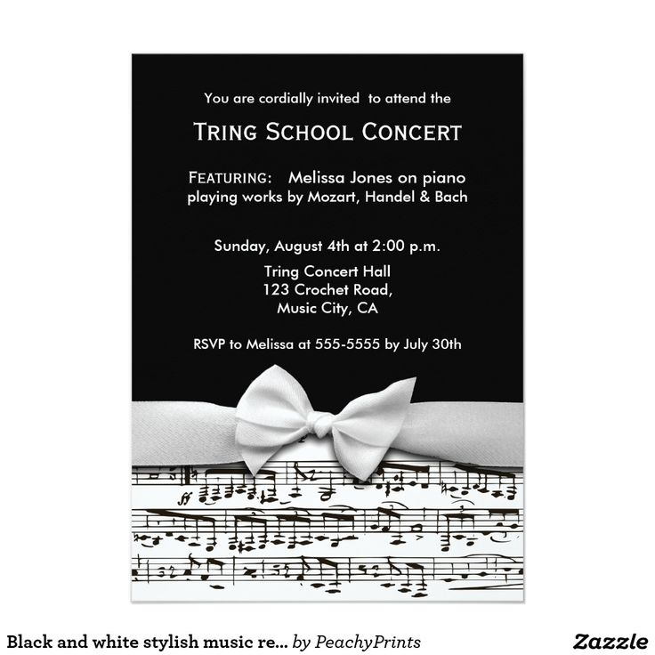 24 best music recital images on pinterest piano recital black and white stylish music recital invitation thecheapjerseys Images