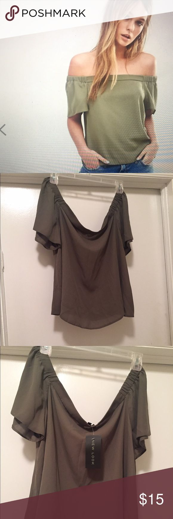New Bardot swing top Very cute and flirty 😉 olive green and US size 12. Asos.com --Brand New Look. New and never worn. ASOS Tops