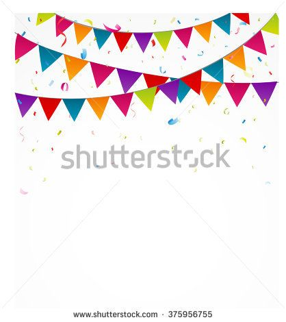 Birthday bunting flags with confetti