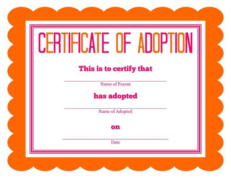 Detail-Oriented Diva!: Stuffed Animal Adoption Certificate