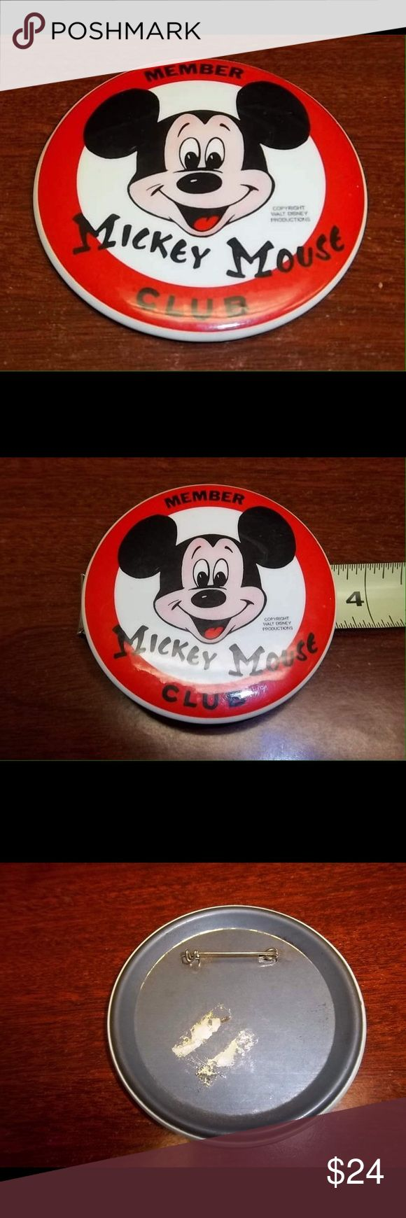 "Vintage Mickey Mouse Club Mouseketeers Member Pin Circa 1977 ""Member Mickey Mouse Club"" pin (for new Mickey Mouse Club). Walt Disney Productions, the pin is 3 1/2"" in diameter and the paint and design details are in very good condition for a piece of Disney Memorabilia of this age, the back has some sticker reside and scuffs, the pin portion still functions and this could be worn if desired  This would make a great gift for any Disney Fan! Disney Other"