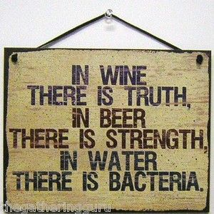 NEW In Wine Truth Beer Strength Water Wood Sign Board Faux Wall Hanging Decor