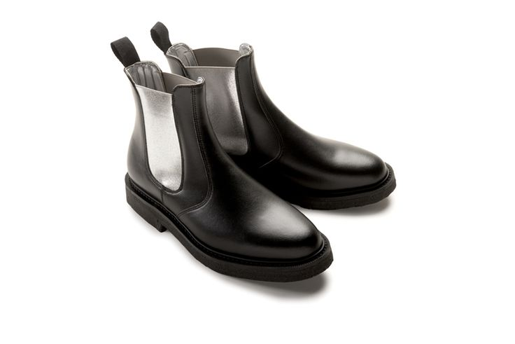 Kinsey Black Dealer boot with Metallic Silver elastic and Goodyear welted sole.