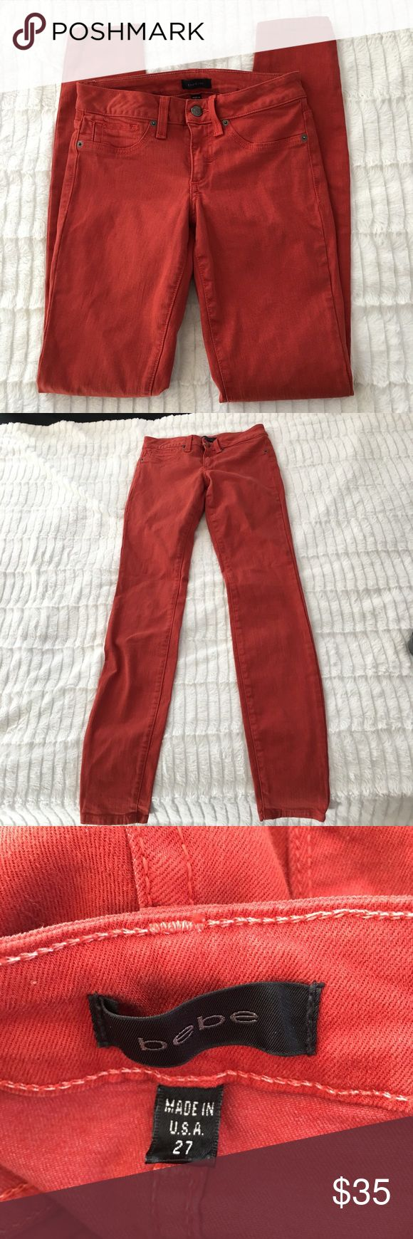 Bebe Orange Skinny Jeans Size 27 Bebe Orange Skinny Jeans Size 27. Slightly faded from washing but still great condition. Please look at measurements for fit. Feel free to ask any questions :) bebe Jeans Skinny