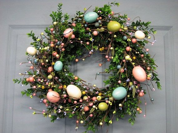 Easter Egg  - Door Wreath Boxwood  - Spring Wreath - Easter Wreath - Pastel EGG Mix Pip Berry Wreath - Easter Egg Wreaths  Easter Home Decor