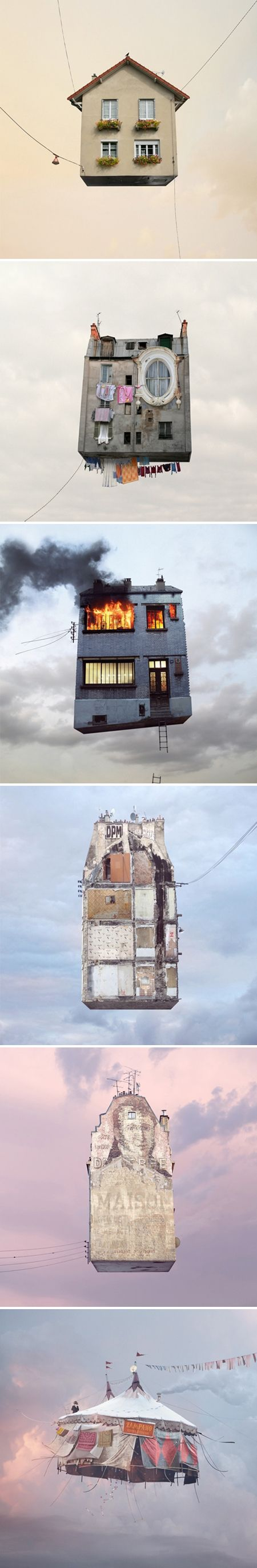 "Photographer Laurent Chehere's ""Flying Houses"""
