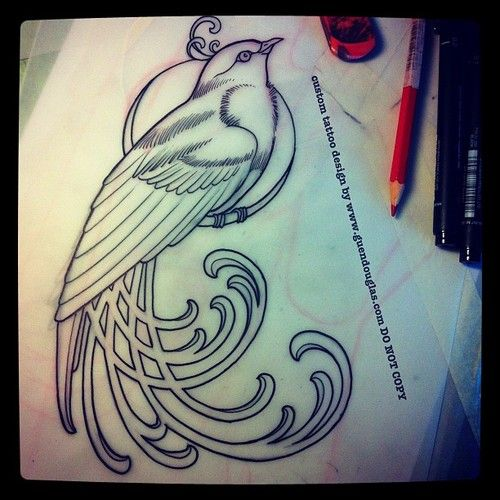 Art Nouveau bird design by Guen Douglas