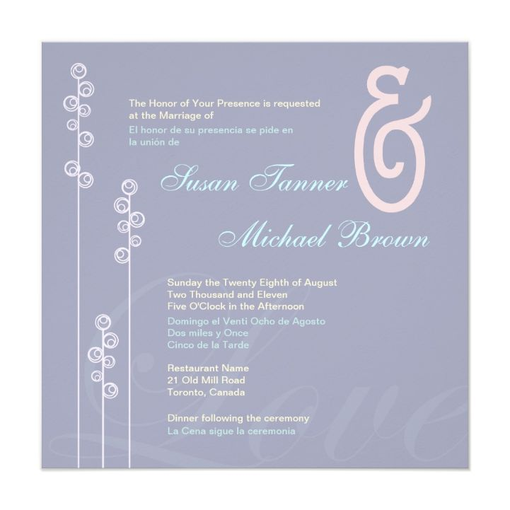 Lovely Color Combination On This Bilingual Wedding Invite Where Both  Languages Are Intertwined In Alternating Colors