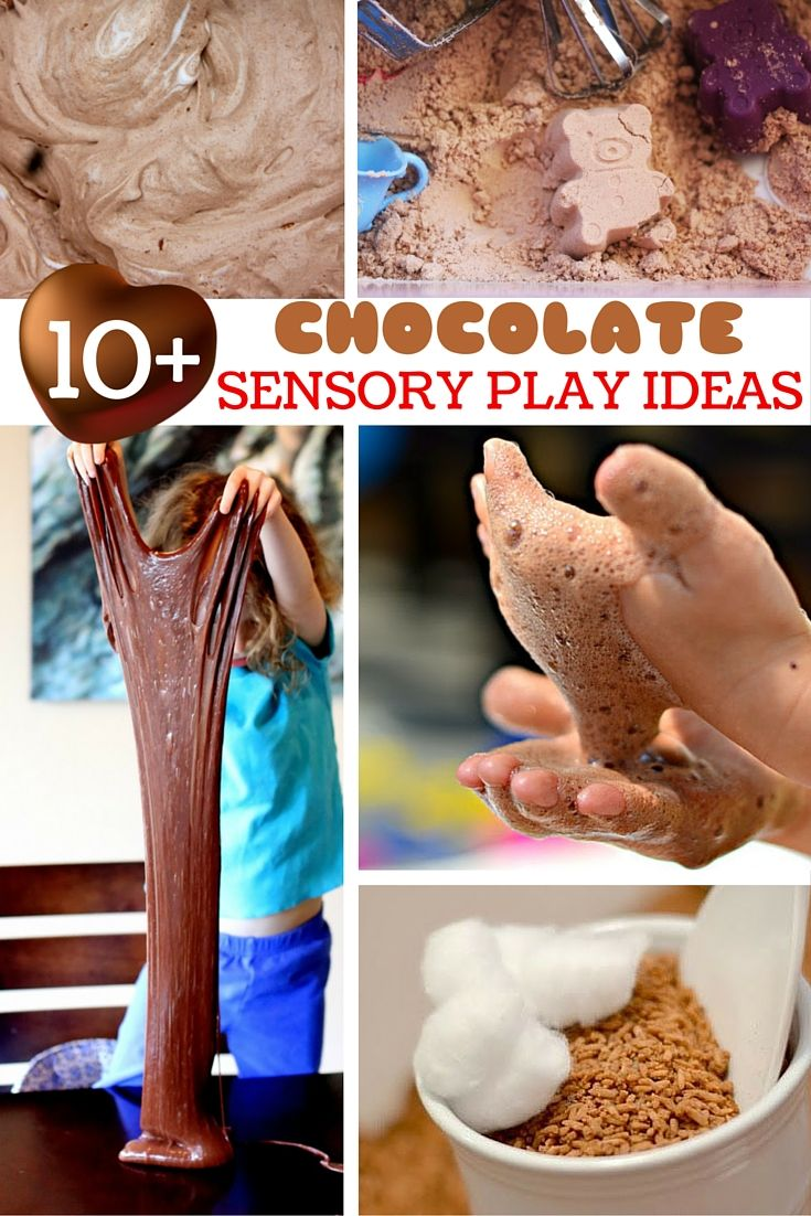 10+ Chocolate Sensory Play Ideas your kids will love - chocolate sensory activities that are perfect for Valentine's Day, Easter, Halloween, or anytime - because when is chocolate not fun? Everything from Chocolate Play Dough and Chocolate Slime to Chocolate Paint and Chocolate Foam!