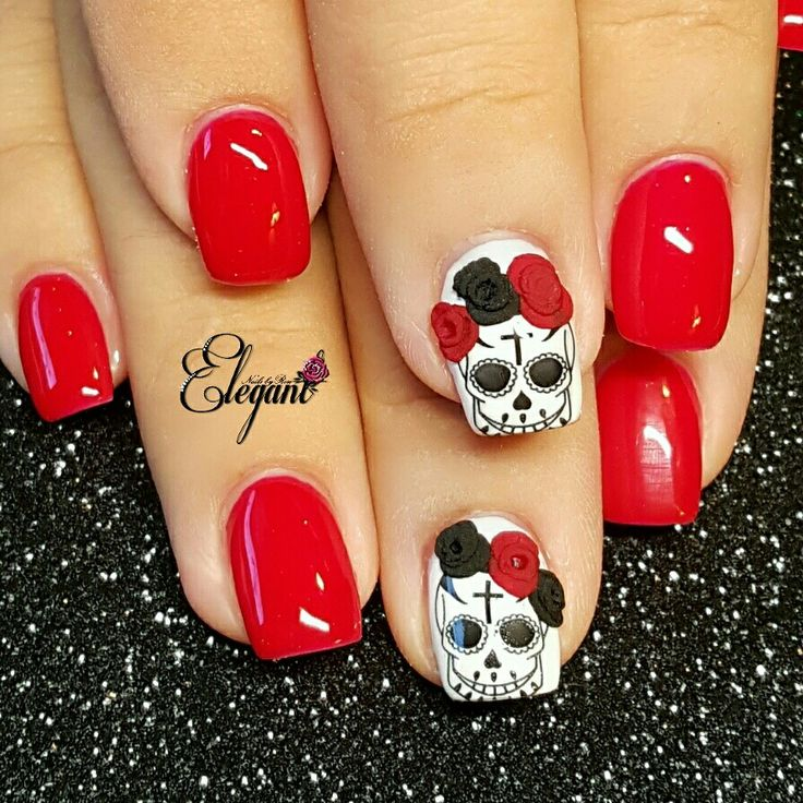 Red Nails with black, red and white accents. Sugar Skull nails