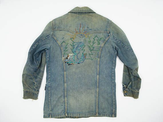 70s Lee Storm Rider jean jacket with awesome chain stitch at on back. https://www.etsy.com/listing/519943778/storm-rider-jean-jacket-l-vintage-lee