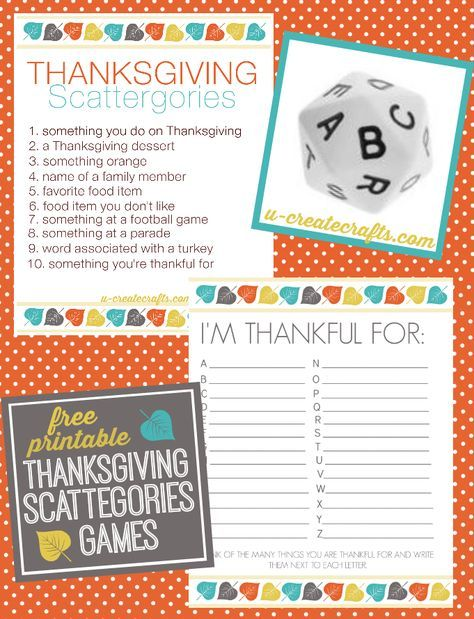 Thanksgiving Scattegories Free Printable Games - http://u-createcrafts.com