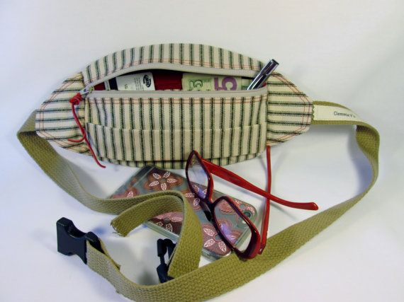 Travel Pouch, Striped Fabric, Carry on Bag, Travel Bag, Cotton Pouch, Handcrafted Belt Bag, Phone Belt Bag, Stylish Fanny Pack, Travel Pouch
