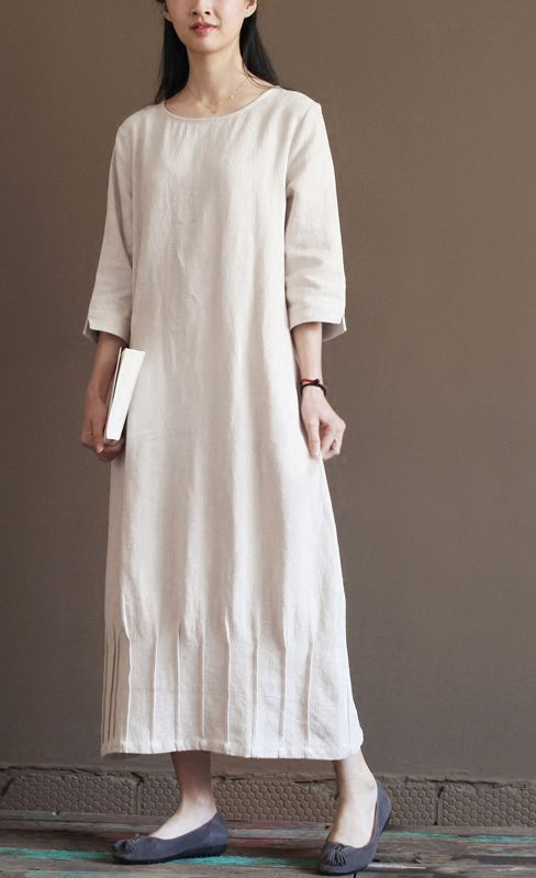 Casual sundress. Nude linen spring dress 2016 new linen maxi dresses plus size linen clothing Learn to sew Japanese sewing patterns at http://www.japanesesewingpatterns.com/.