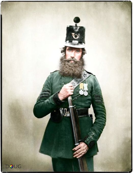 Sergeant Patrick Carroll, 1st Battalion, Rifle Brigade. He wears both the Crimea and the 1853 Kaffir medal. On returning from the Crimea, the 1st Battalion were reviewed by Queen Victoria who addressed them personally on the 8th July 1856. The regiment were awarded eight Victoria Crosses during the Crimean War, more than any other regiment.