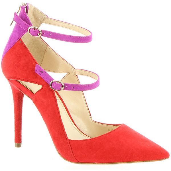Jessica Simpson Livianna Women's Red Pump ($100) ❤ liked on Polyvore featuring shoes, pumps, red, pointed toe pumps, ankle strap shoes, jessica simpson pumps, red stiletto pumps and red pointed toe pumps
