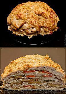 Курица, запечённая слоями