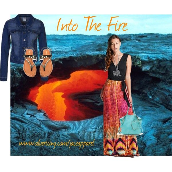 Into The Fire by jace-apparel on Polyvore featuring maxidress, handbag and denimjacket