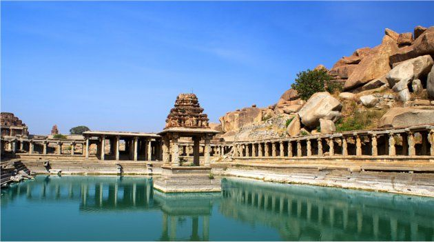 Ancient Temple and Lake, Hampi India