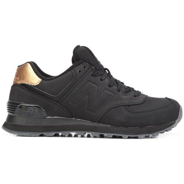 New Balance '574' sneakers (270 BRL) ❤ liked on Polyvore featuring shoes, sneakers, black, black leather trainers, kohl shoes, real leather shoes, leather trainers and black leather sneakers