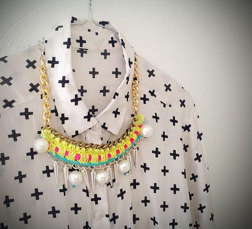 Strawberry vanilla chain crochet statement necklace