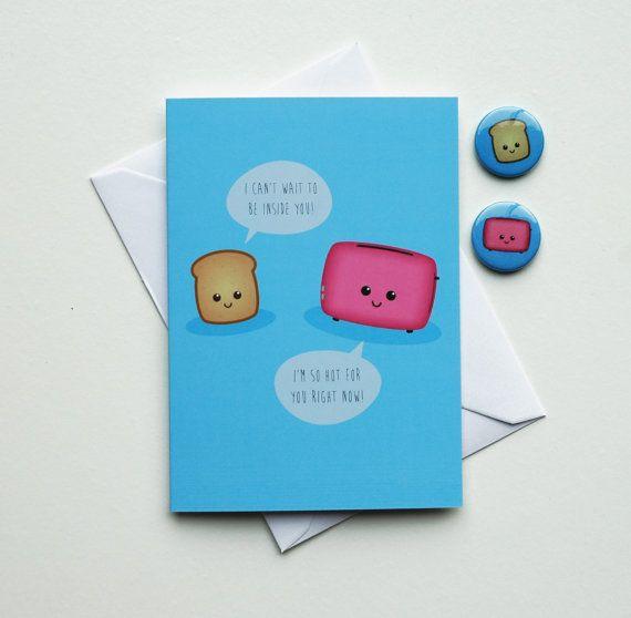Rude Card, Funny Birthday Card, Romantic Kawaii Card, Valentines Day Gift