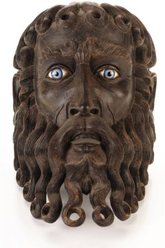19th C Fabulous Antique Carved Wooden Mask Of A God W Blue