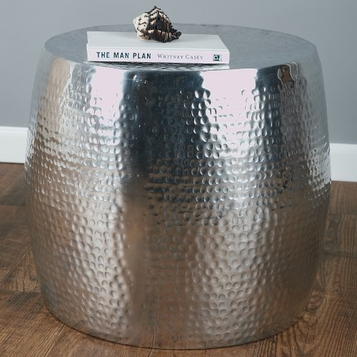 Silver aluminum wide drum side table for the home for Wide side table