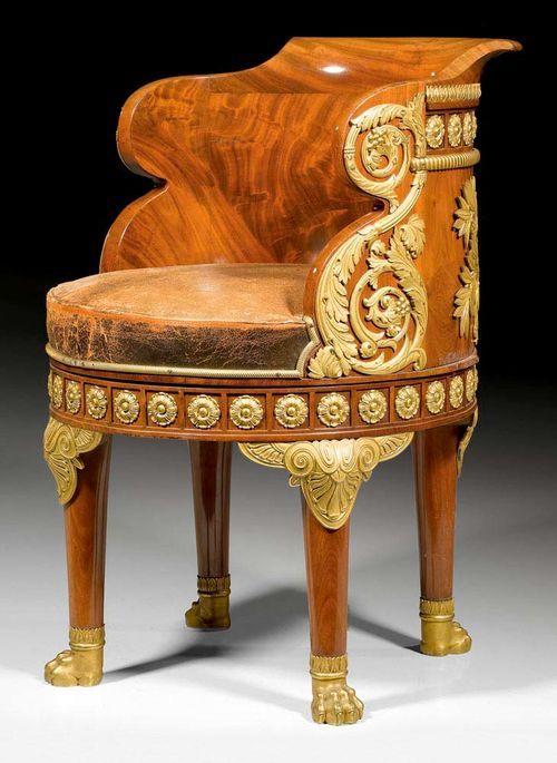"""MAHOGANY FAUTEUIL DE BUREAU """"MINISTRE"""",Empire style , from a Paris master workshop, 19th century."""
