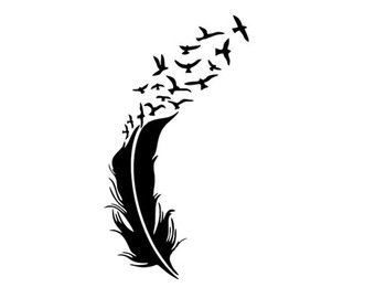 feather and birds svg dxf file instant download silhouette cameo cricut clip art