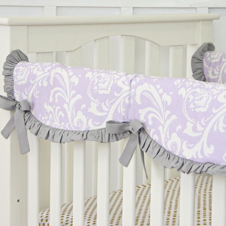 Crib Rail Cover Lavender Sweet Lace Damask Skirts