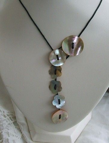 mother of pearl button necklace.