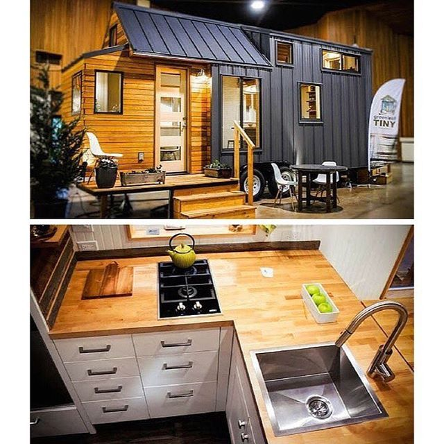 The 204 sq ft Kootenay tiny house on wheels from Greenleaf Tiny Homes in #Eugene #Oregon #interiors #interiordesign #architecture #decoration #interior #home #design #camper #bookofcabins #homedecor #house #decor #prefab #diy #compactliving #fineinteriors #cabin #shed #tinyhomes #tinyhouse #cabinfever #foodtruck #tinyhousemovement #airstream #treehouse #cabinlife #cottage