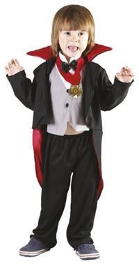 Drakula Kostümü, 3-4 Yaş Parti Kostümleri - Erkek Çocuk Parti Kostümleri Cadılar Bayramı Kostümü, Halloween Partisi Kostümü:  Kostüm polyester kumaştan içi kırmızı dışı siyah yüksek yakalı frak ceket, papyon ve yakası üstüne dikili yelek önü (yeleğin arkası yoktur, beyaz t-shirt üstüne giydirilmesi önerilir), kolye ve beli lastikli pantalondan oluşur.