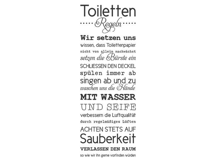 Perfect Wandtattoo Toilettenregeln Spruchbanner