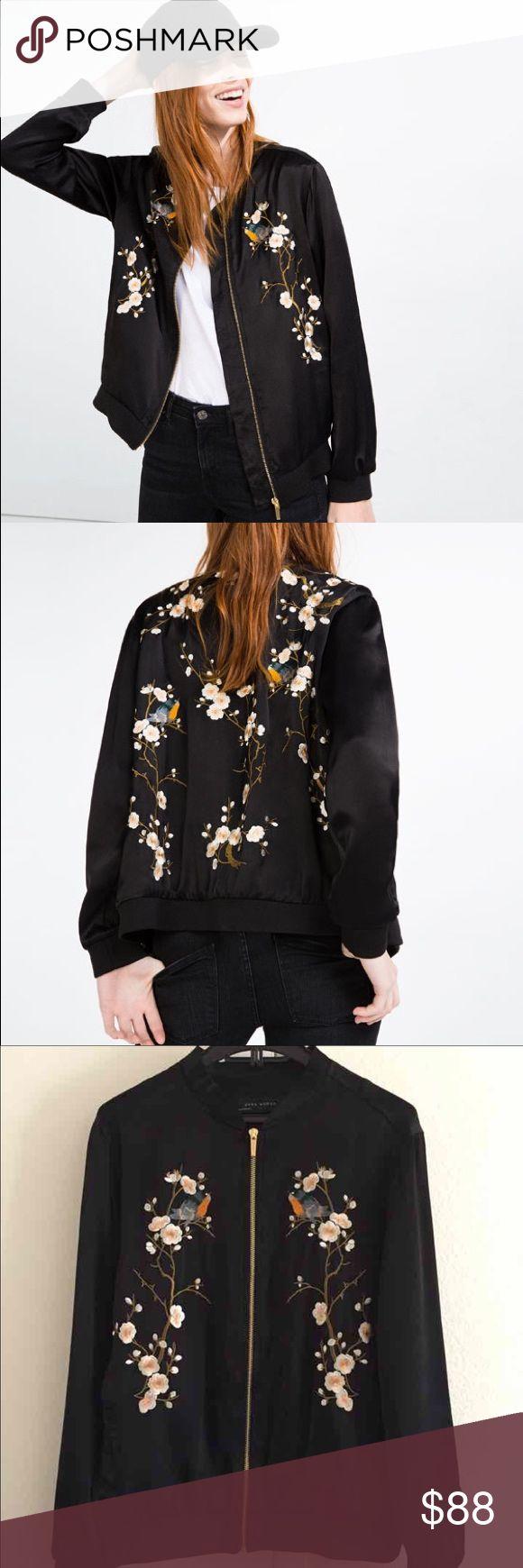 ZARA Embroidered Silky Bomber Jacket Gorgeous silky bomber jacket purchased at ZARA. Zara Jackets & Coats